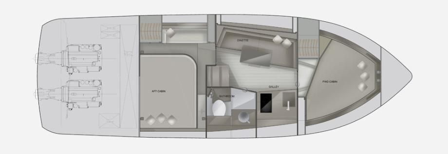 Galeon 335 HTS plan de pont deck 2