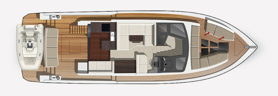 Galeon 460 FLY plan de pont deck 1
