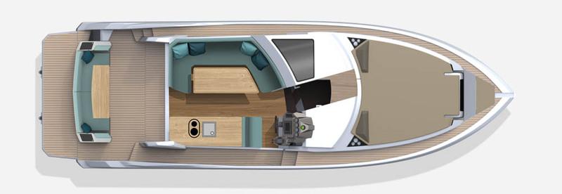Galeon 370 HTC plan de pont deck 1