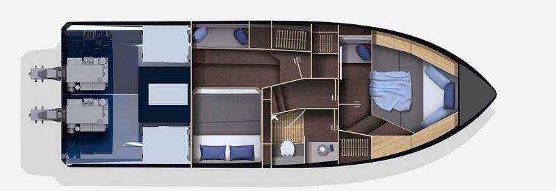 Galeon 370 HTC plan de pont deck 2 aménagement 1