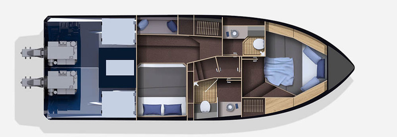 Galeon 370 HTC plan de pont deck 2 aménagement 2