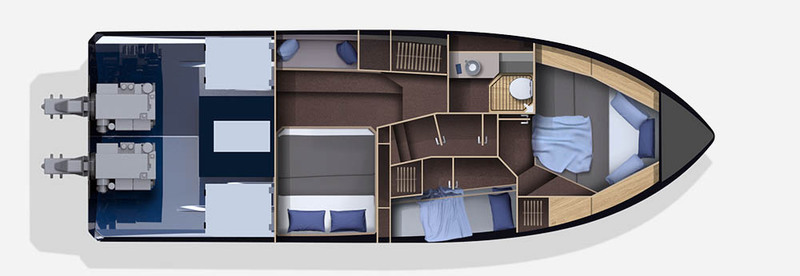 Galeon 370 HTC plan de pont deck 2 aménagement 3