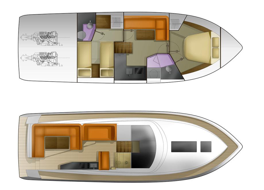 Galeon 405 HTS plan de pont