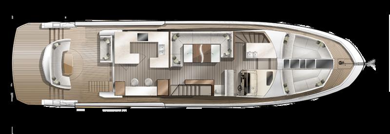 Galeon 640 FLY plan de pont deck 1 salon tournant