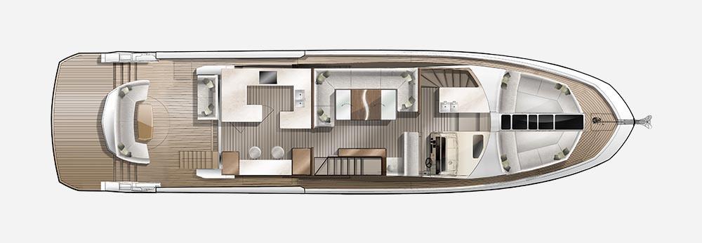 Galeon 650 SKYDECK plan de pont deck 1