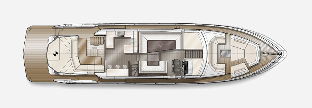 Galeon 700 SKYDECK plan de pont deck 1
