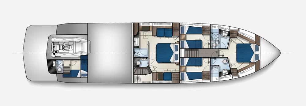 Galeon 700 SKYDECK plan de pont deck 2
