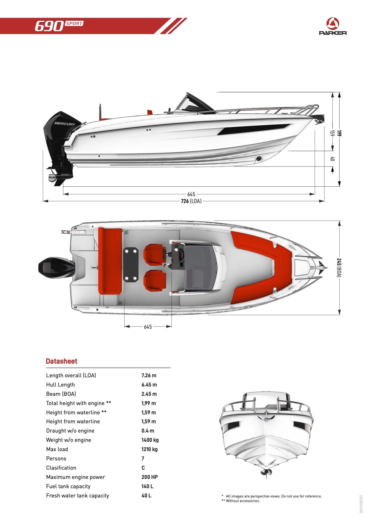 Parker 690 Sport plan de pont