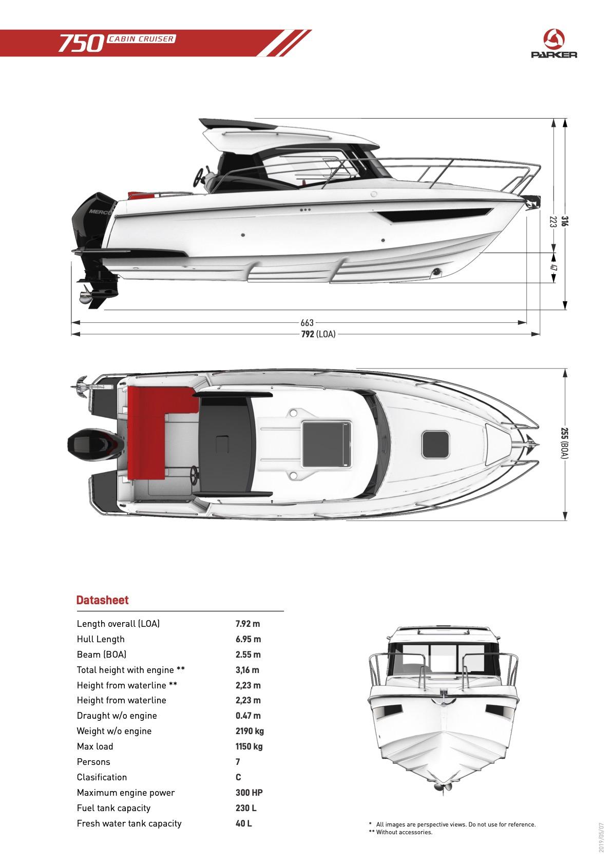 Parker 750 Cabin Cruiser plan de pont extérieur