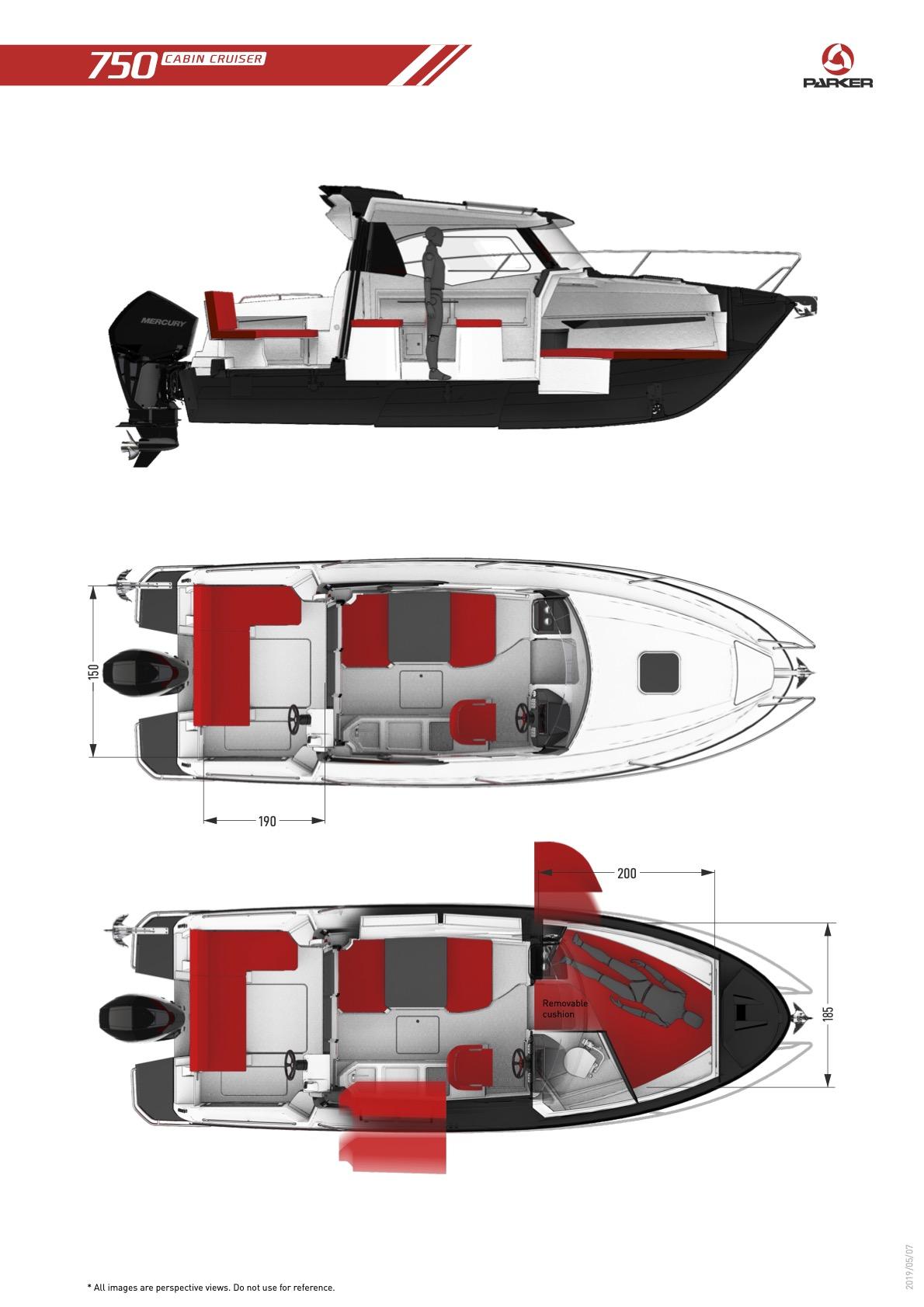 Parker 750 Cabin Cruiser plan de pont intérieur