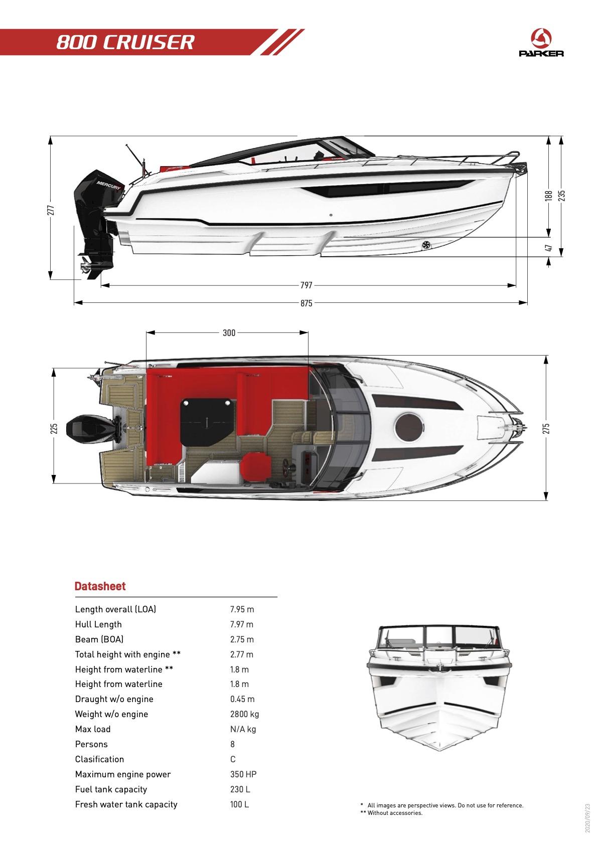 Parker 800 Cruiser plan de pont exterieur