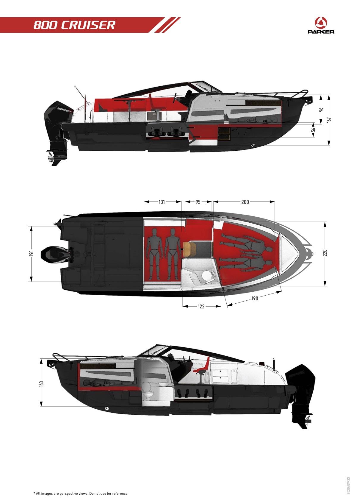 Parker 800 Cruiser plan de pont interieur
