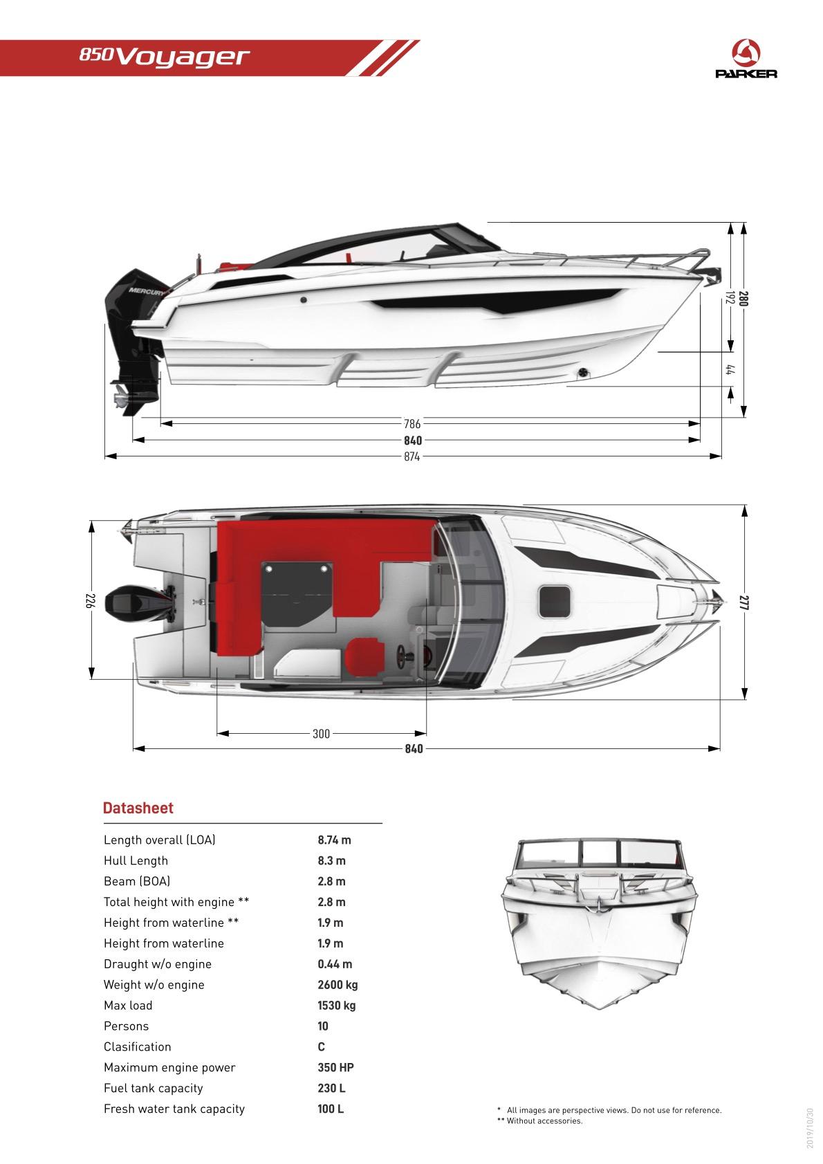 Parker 850 Voyager plan de pont exterieur