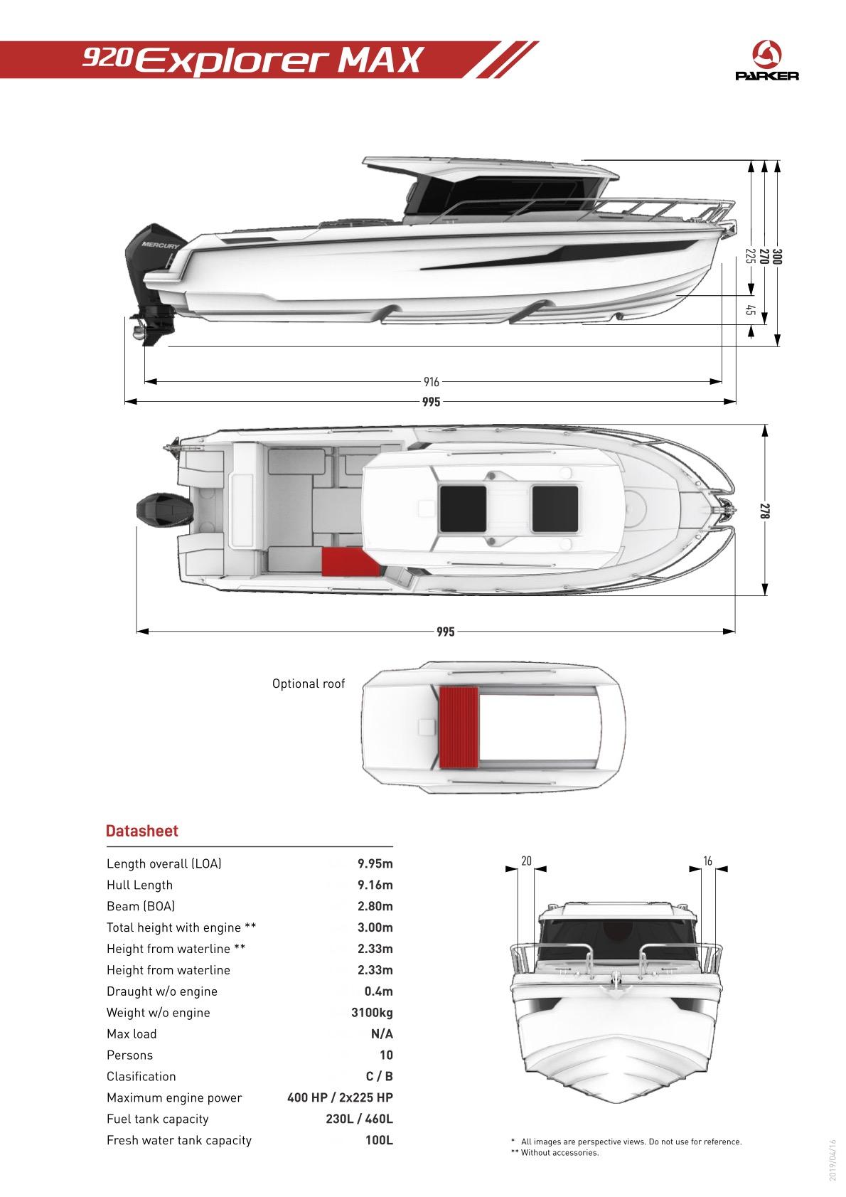 Parker 920 Explorer Max plan de pont exterieur