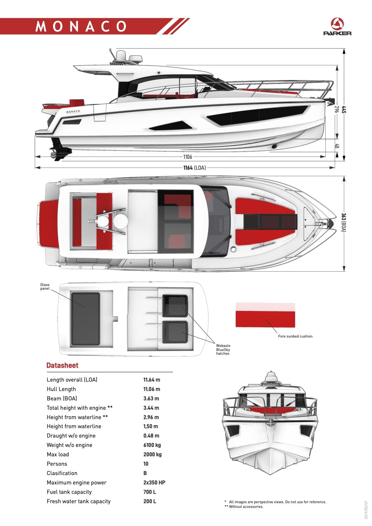 Parker Monaco 110 plan de pont exterieur